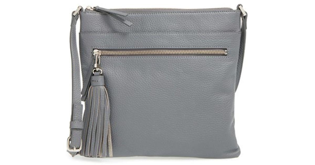 78a41eb980 Halogen Tasseled Leather Crossbody Bag - Metallic in Gray - Lyst
