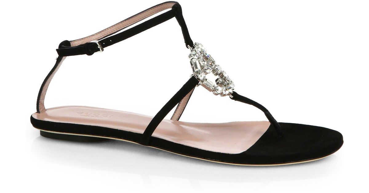 60fb887eb Gucci GG Crystal Leather and Suede Sandals in Black - Lyst