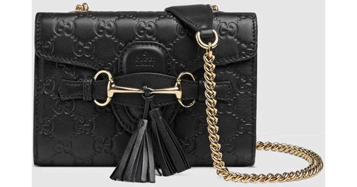 f84a10ad97e0aa Gucci Emily Ssima Mini Shoulder Bag in Black - Lyst