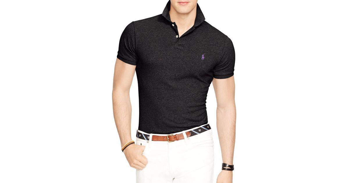 17016c7a Ralph Lauren Black Polo Slim-fit Mesh Polo Shirt for men
