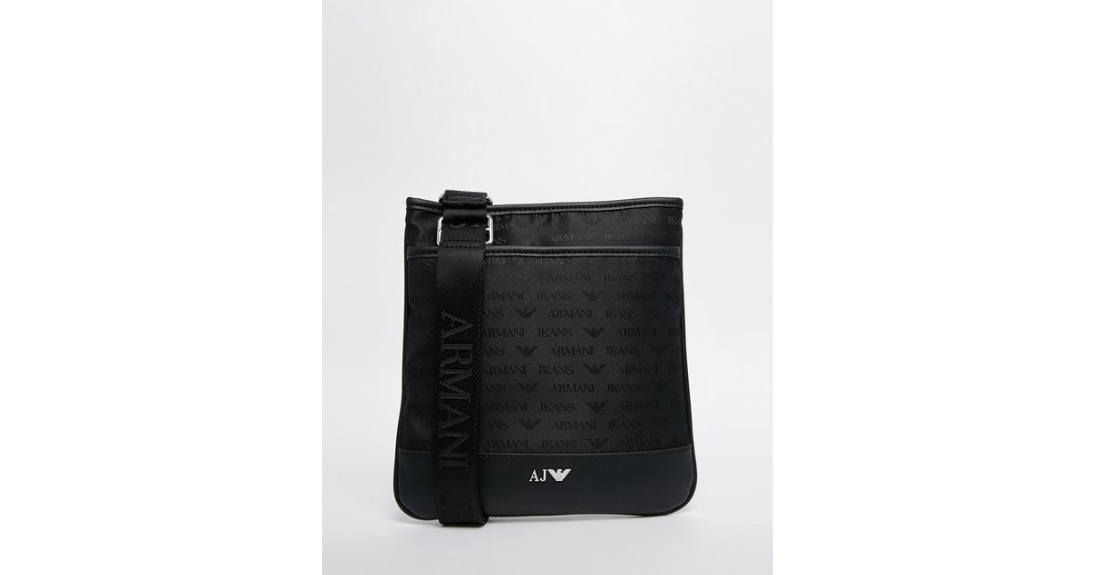 7ec2eeca8ef5 Lyst - Armani Jeans Nylon Flight Bag With All Over Logo Print in Black for  Men