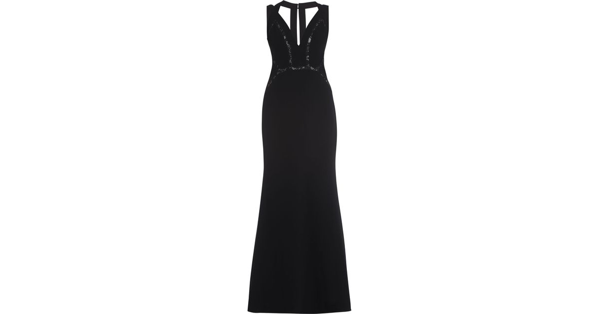 768265796b47 Lyst Bcbgmaxazria Penelopey Halter V Neck Long Gown In Black