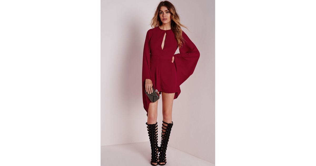 3bcd8e5d2f6 Missguided Cape Sleeve Playsuit Burgundy in Purple - Lyst