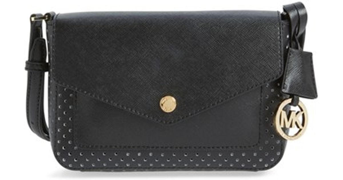 dc9a00b02950 ... norway lyst michael michael kors small greenwich perforated leather cross  body bag in black 9c944 94031
