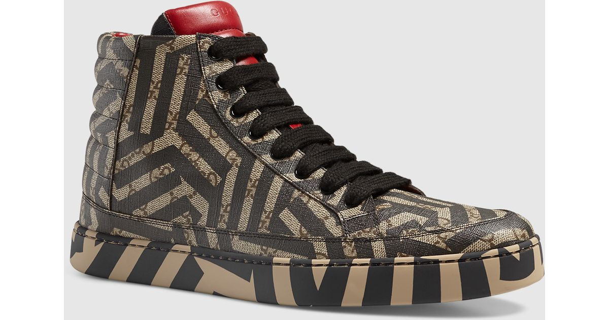 ca50bb8ffd0 Lyst - Gucci Gg Caleido High-top Sneaker in Brown for Men