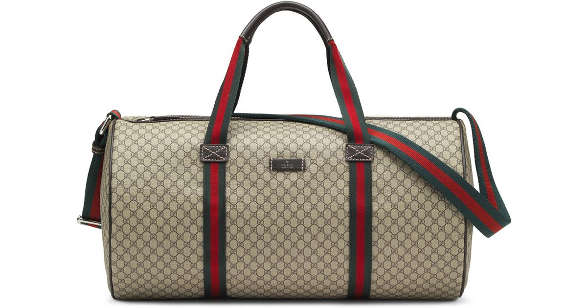 Lyst - Gucci Embossed Faux-Leather Gym Bag in Natural for Men