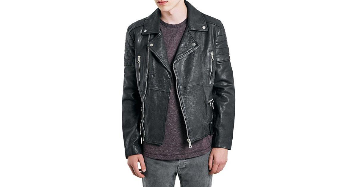 53dd51e89 TOPMAN Black Leather Biker Jacket for men