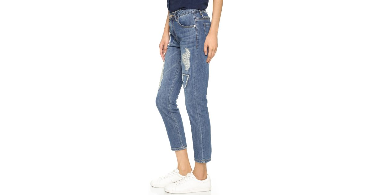 Sjyp Destroyed Straight Leg Jeans in Blue | Lyst