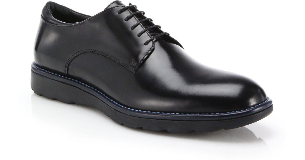 Z Zegna Leather Plain-toe Derby Shoes