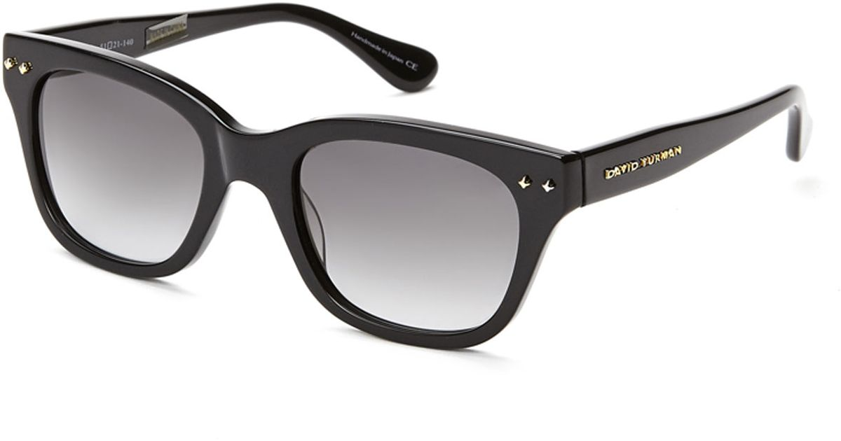 82fbdd14eb Lyst - David Yurman Black Wayfarer Sunglasses in Black