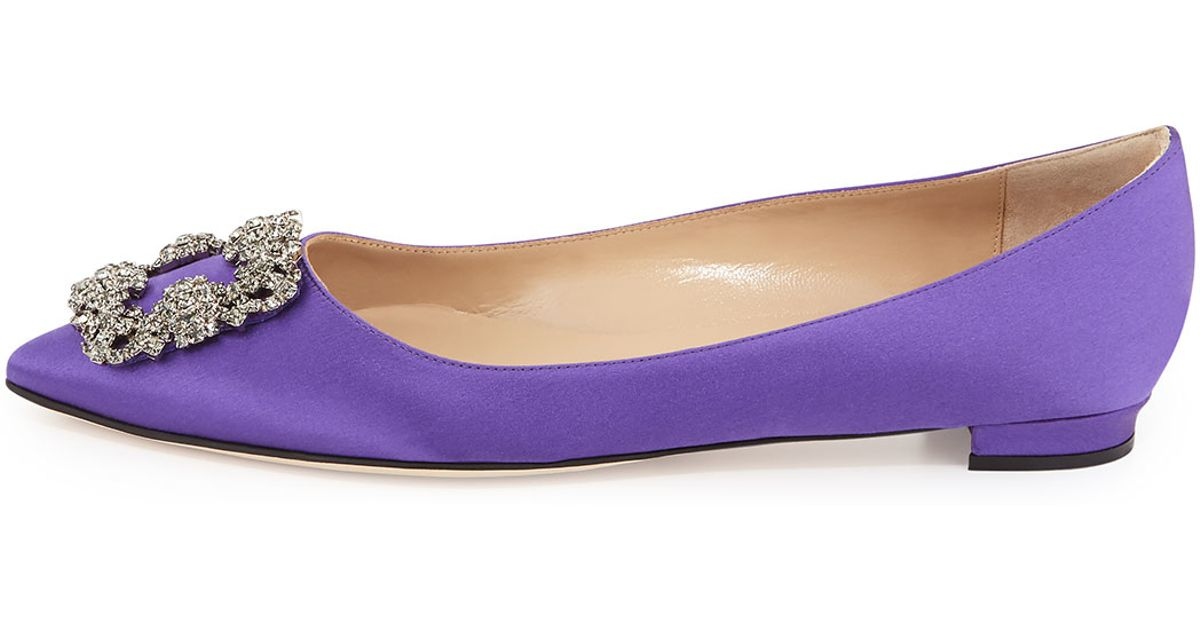 discount Cheapest Manolo Blahnik Hangisi Satin Flats buy cheap how much largest supplier HD1uSS
