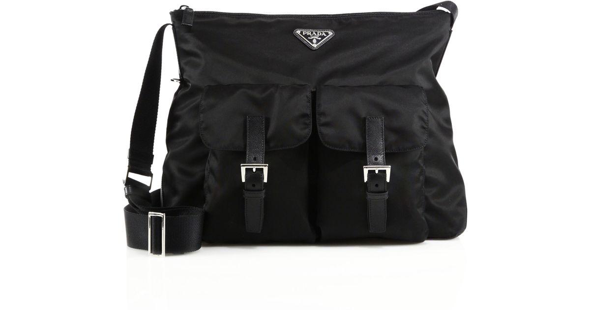 Prada Nylon \u0026amp; Leather Zip Messenger Bag in Black | Lyst