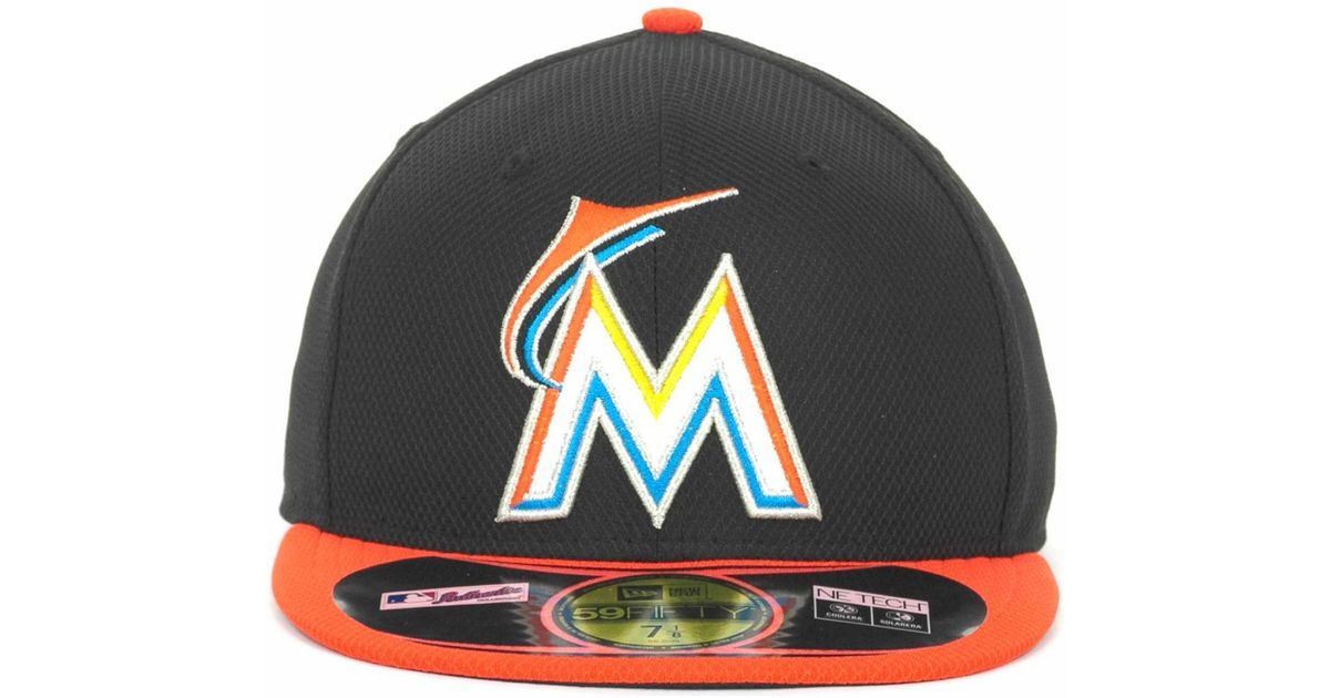 new concept 8e781 f8f2b KTZ Miami Marlins 59fifty Fitted Cap in Black for Men - Lyst
