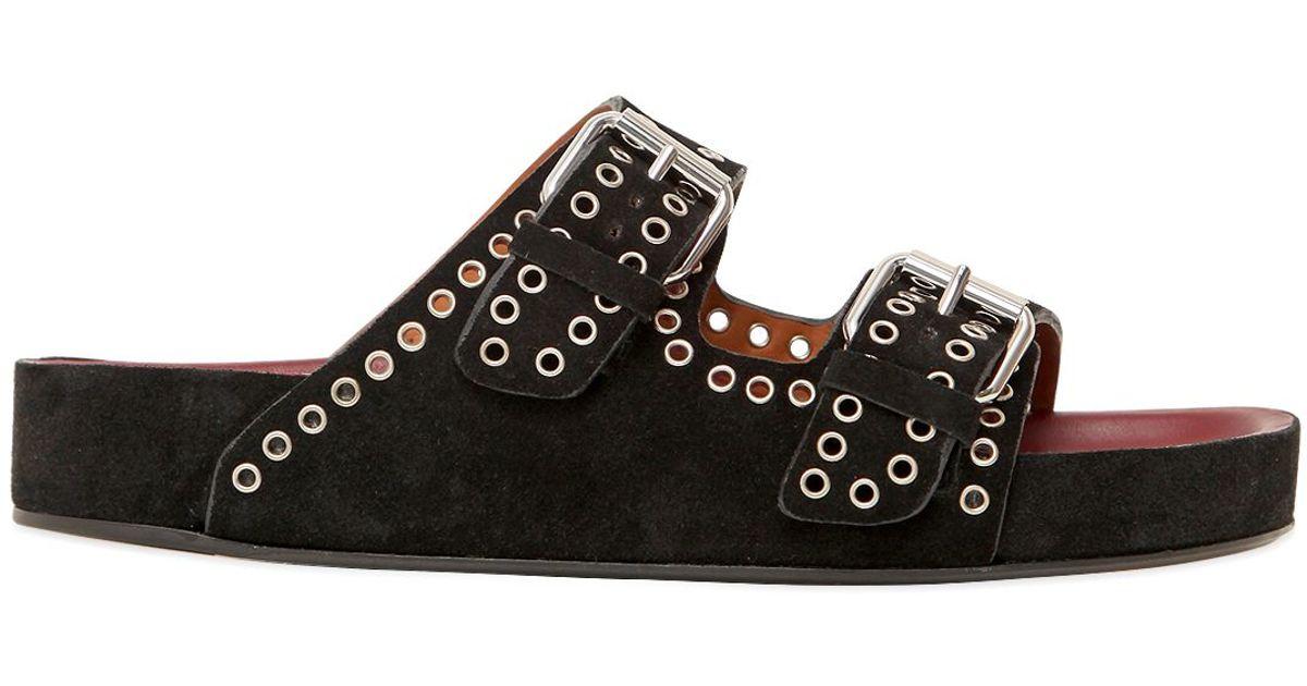 Isabel Marant Lenny Suede Slide Sandals buy cheap visa payment websites online UKUckGu