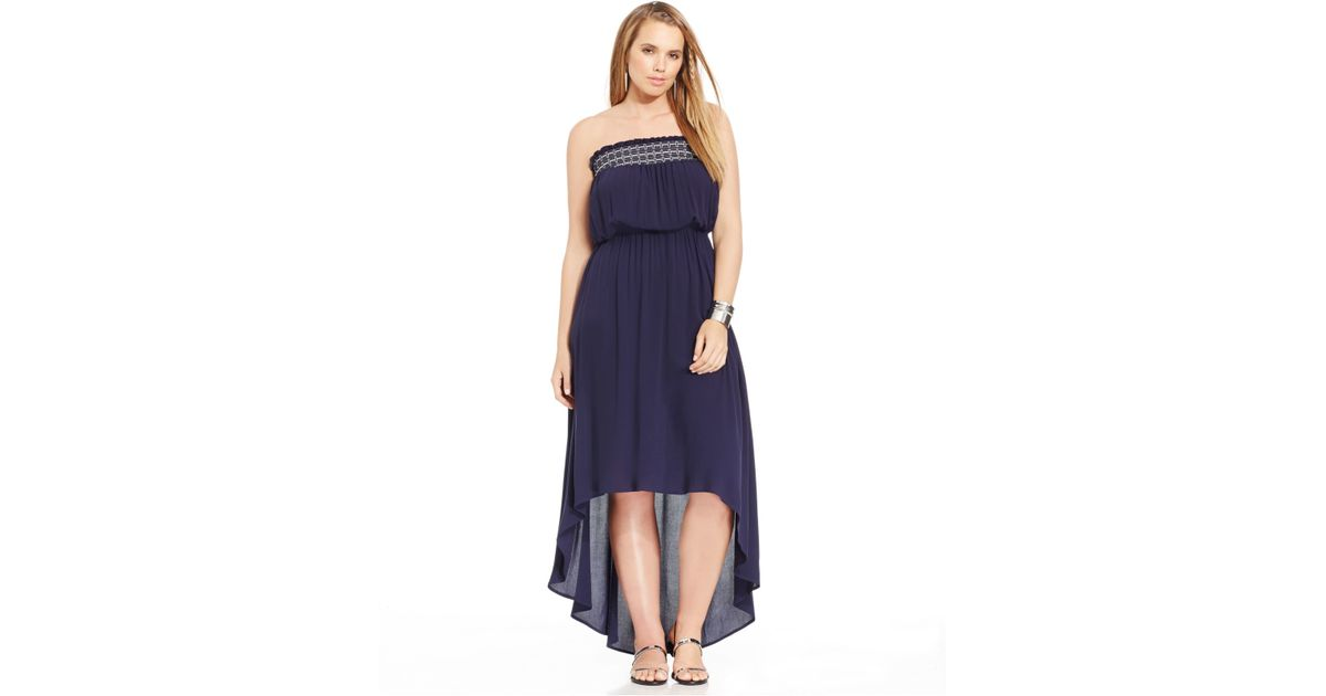 Soprano Purple Plus Size Strapless High-low Maxi Dress