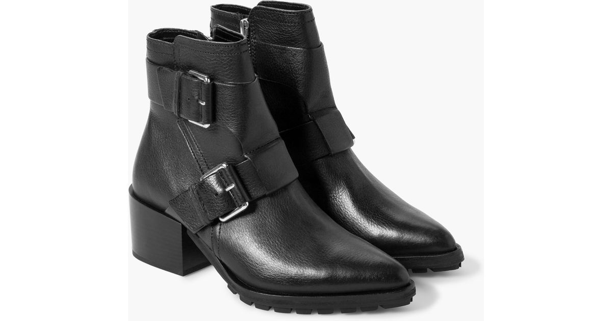 00972805b2b Mango Black Buckle Leather Ankle Boots