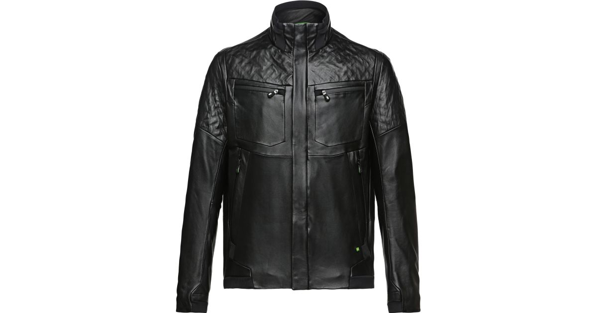 fbb43bf85 BOSS Green Black 'jomes' | Lamb Leather Bomber Jacket for men