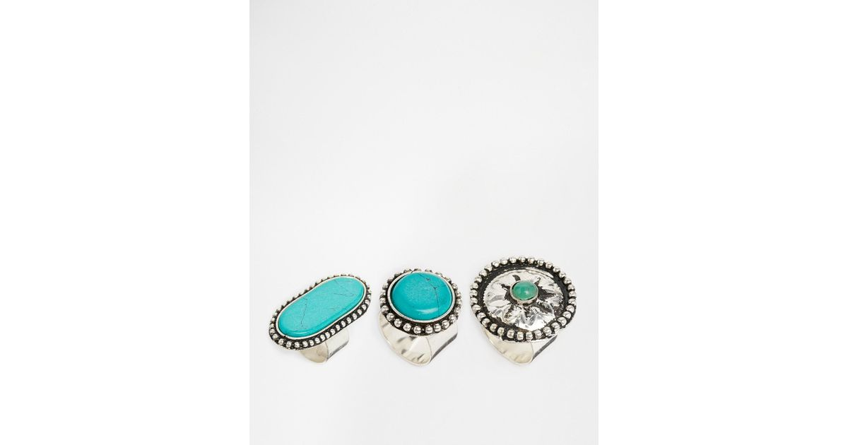 shop eagle bc green img size triple rings silver stone turquoise long ring