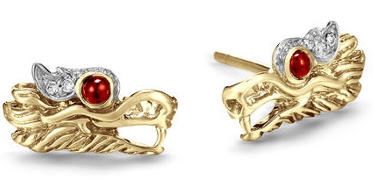 3020f76ba33 Lyst - John Hardy Legends Naga Extra Small Dragon Head Studs Earrings in Red