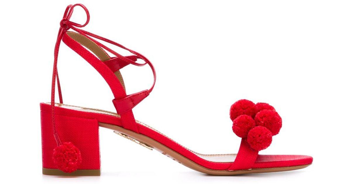 Aquazzura Leather Pom Pom Sandals In Red Lyst