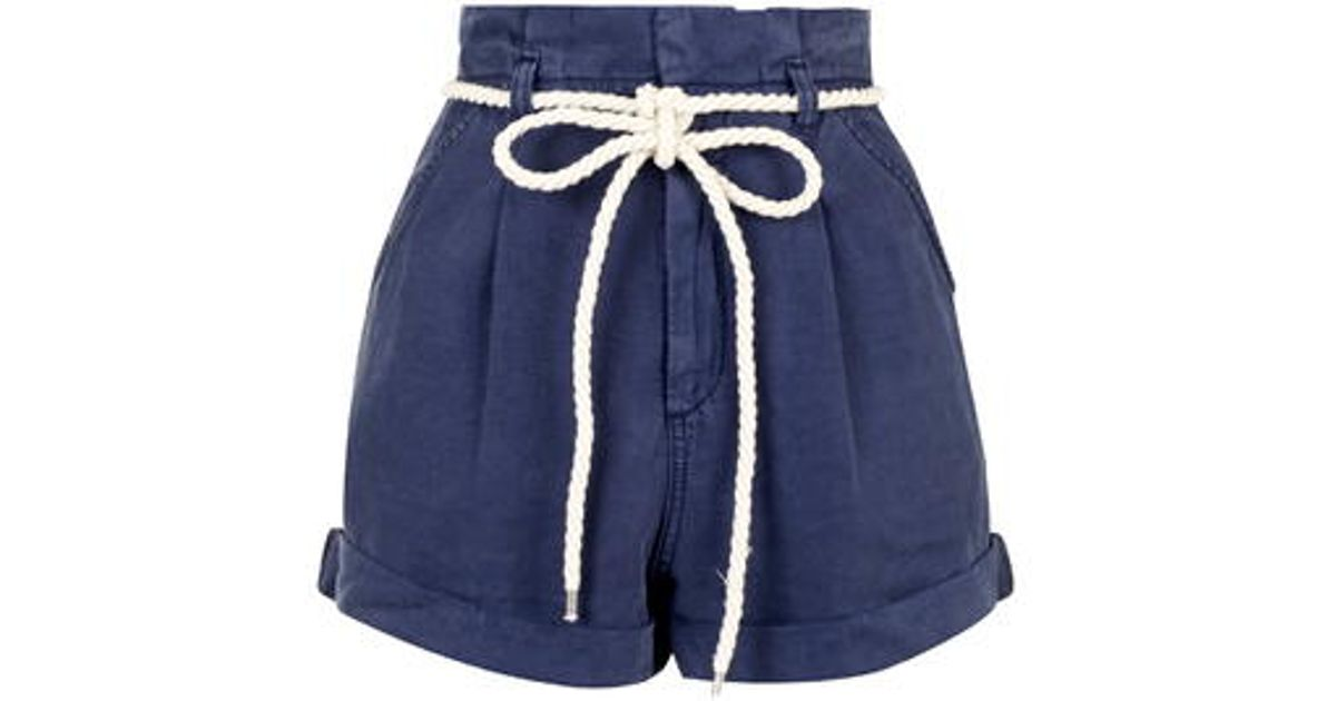 Topshop High-waisted Paperbag Shorts in Blue | Lyst