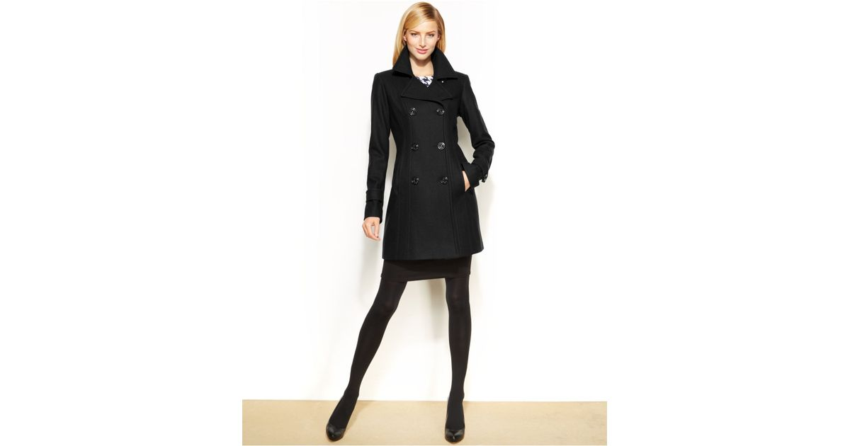 Anne klein Petite Wool-Blend Double-Breasted Pea Coat in Black | Lyst