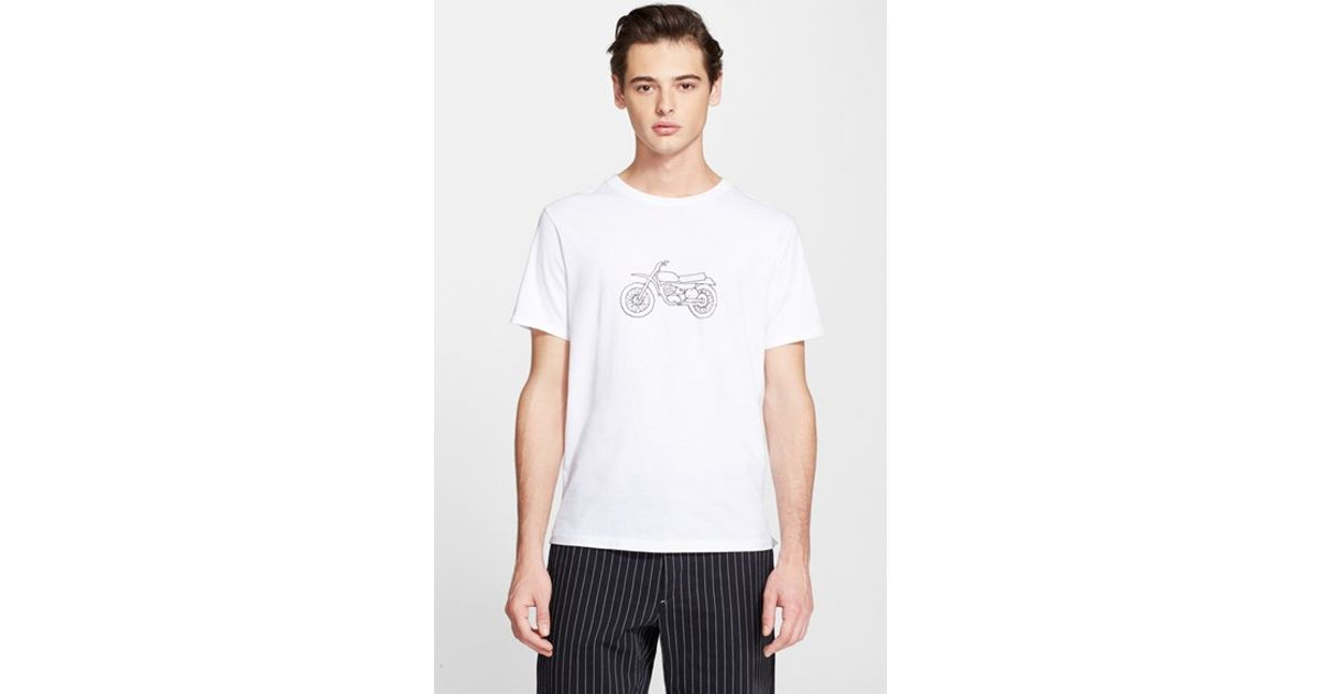 4e3435b4c4e5 Rag   bone Moto Bike Graphic T-Shirt in White for Men