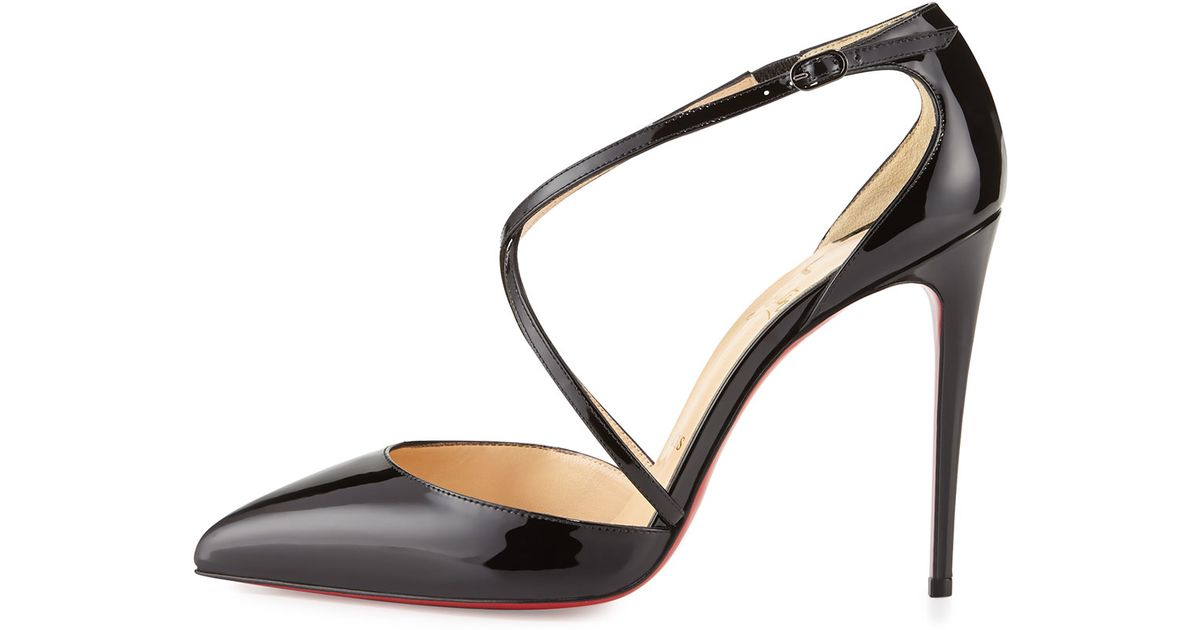f819e4cf7844 Christian Louboutin Cross Blake 100mm Patent Red Sole Pump in Black - Lyst
