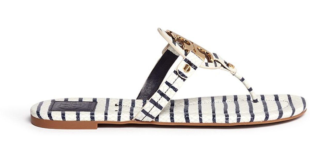 19c5f62ec036 Tory Burch Miller 2 Snake Embossed Striped Sandals in Black - Lyst