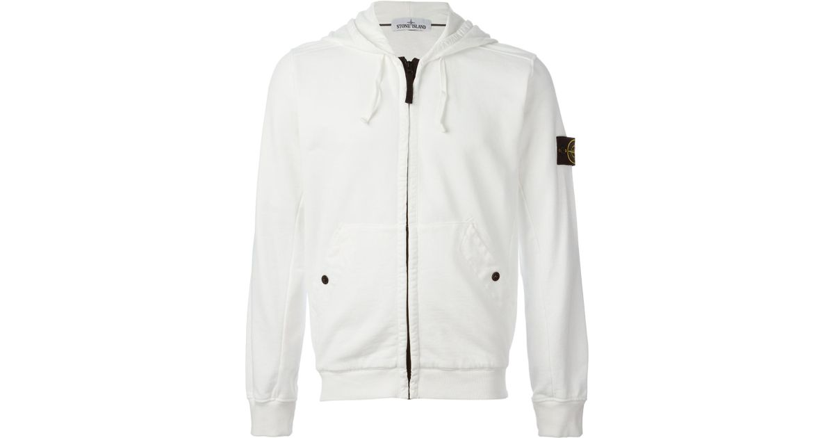 9a57080c379 Lyst - Stone Island Zipped Hoodie in White for Men