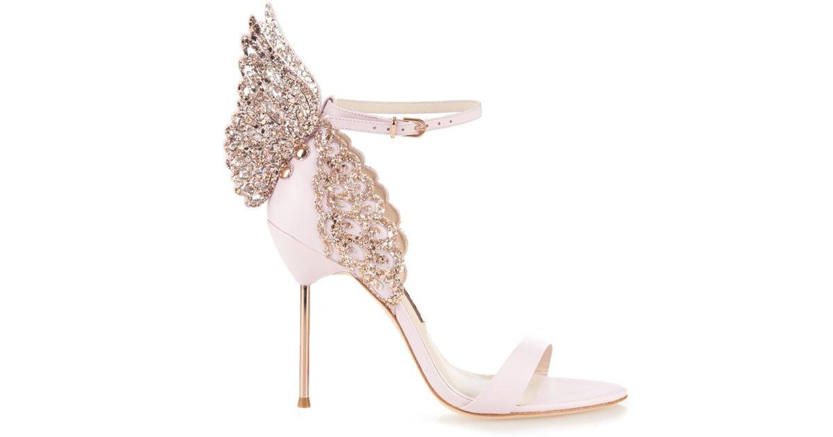 27d60d28161 Sophia Webster Pink Evangeline Glitter Angel-wing Sandals