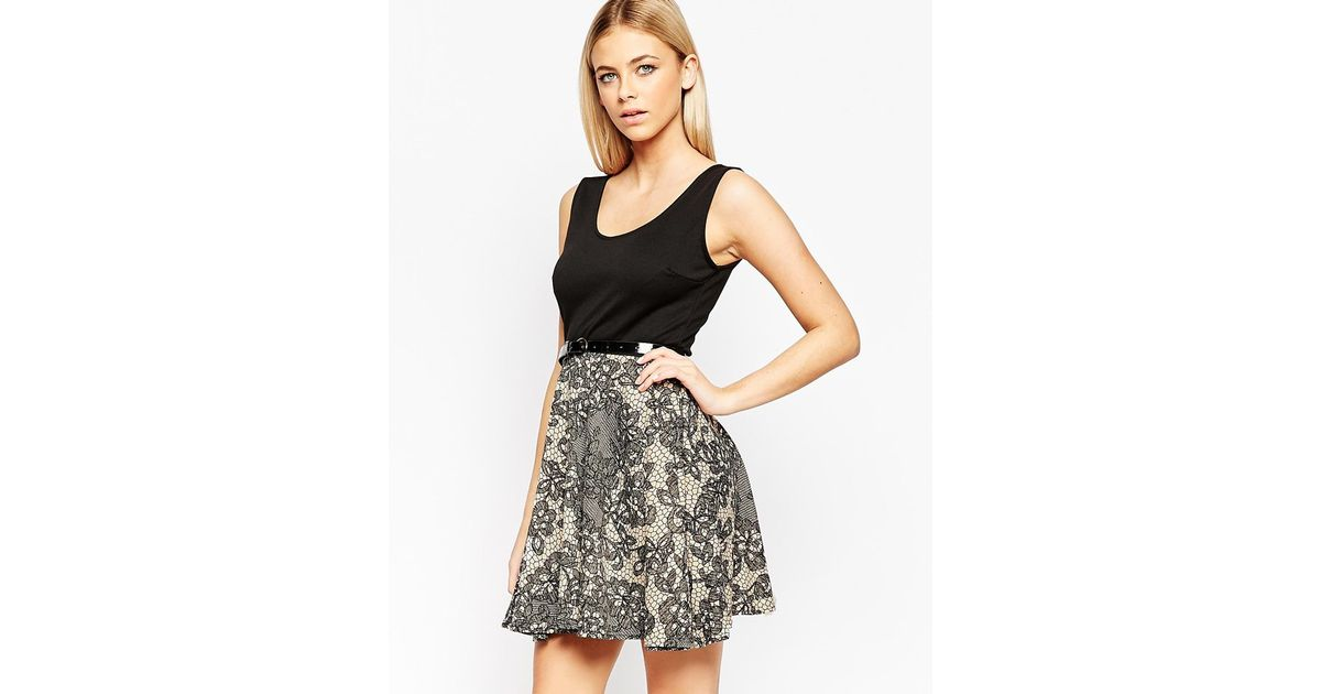 club l belted skater dress with lace print skirt in black
