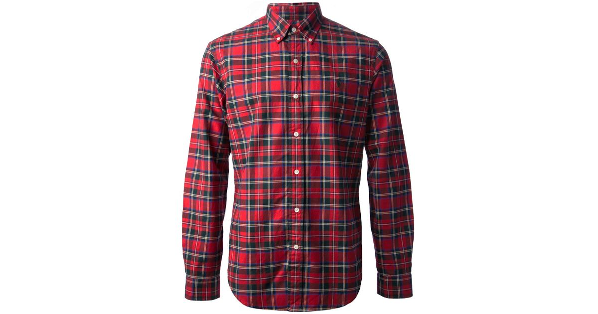 Lyst - Polo ralph lauren Plaid Button Down Shirt in Red for Men