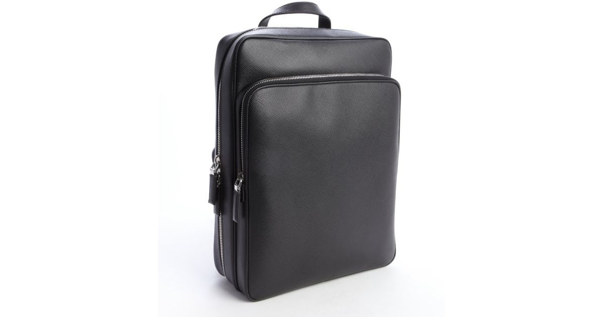 Prada Black Saffiano Squared Backpack in Black for Men | Lyst