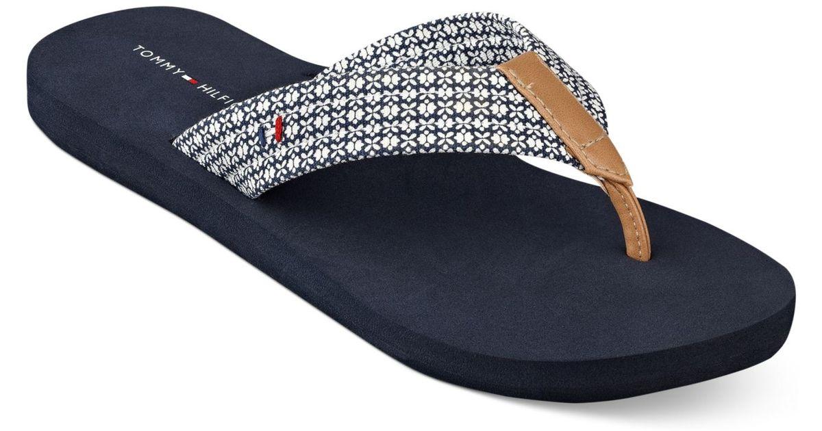 c65670d41b5 Lyst - Tommy Hilfiger Women S Caber Flip Flops in Blue