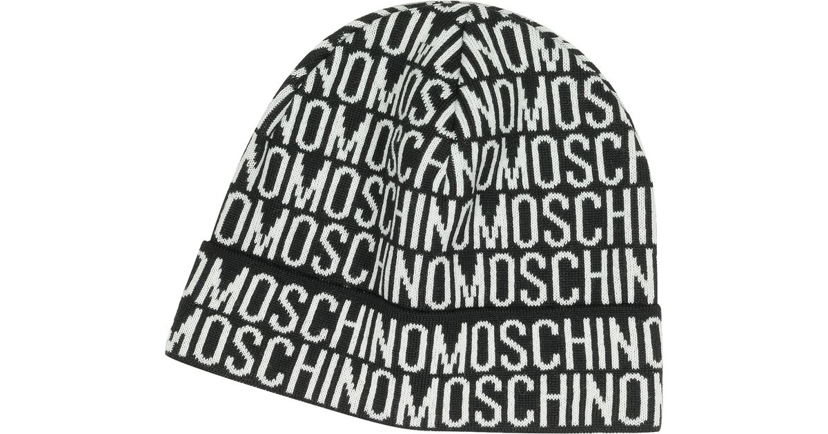 2ec7b1d3bc2 Moschino Signature Woven Wool Blend Men s Hat in Black for Men - Lyst