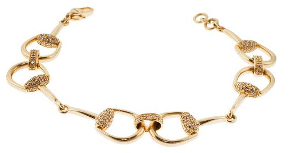 Lyst Gucci Women S Horsebit Diamonds 18k Yellow Gold Bracelet In Metallic