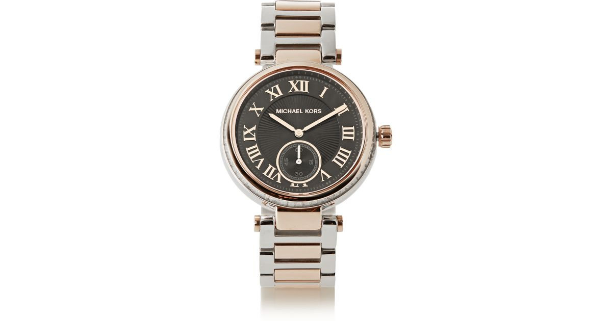 e169ed54982b Lyst - Michael Kors Skylar Crystal-Embellished Two-Tone Stainless Steel  Watch in Black