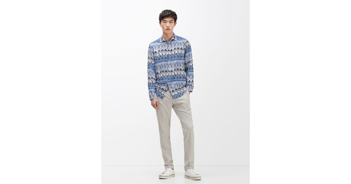 Zara viscose shirt in blue for men save 57 lyst for Zara mens shirts sale