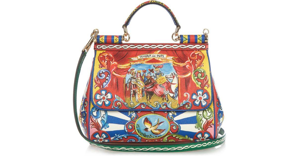 Lyst - Dolce   Gabbana Sicily Medium Carretto-print Leather Bag in Red 45d49d7e29