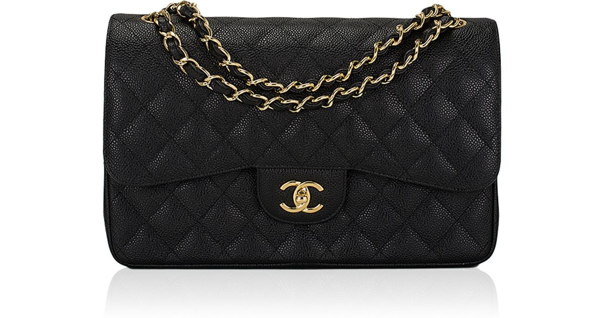 96c2d27f08cf Madison Avenue Couture Chanel Black Quilted Caviar Jumbo Classic 2.55  Double Flap Bag in Black - Lyst
