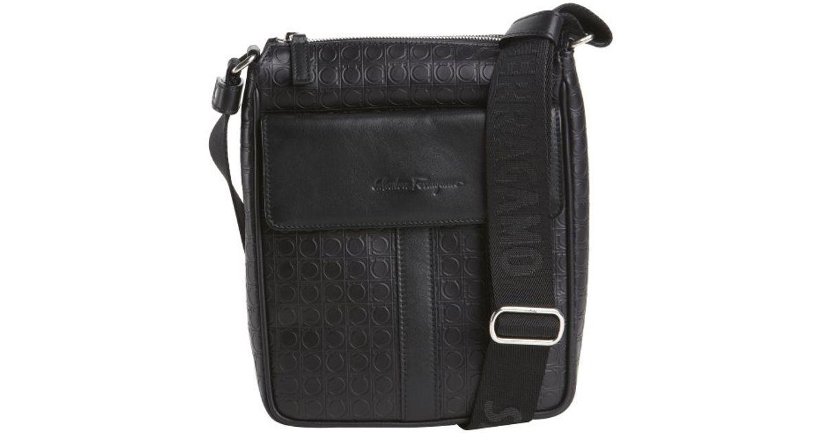 Lyst - Ferragamo Black Gancio Leather Messenger Bag in Black for Men bb1da94c42a0b