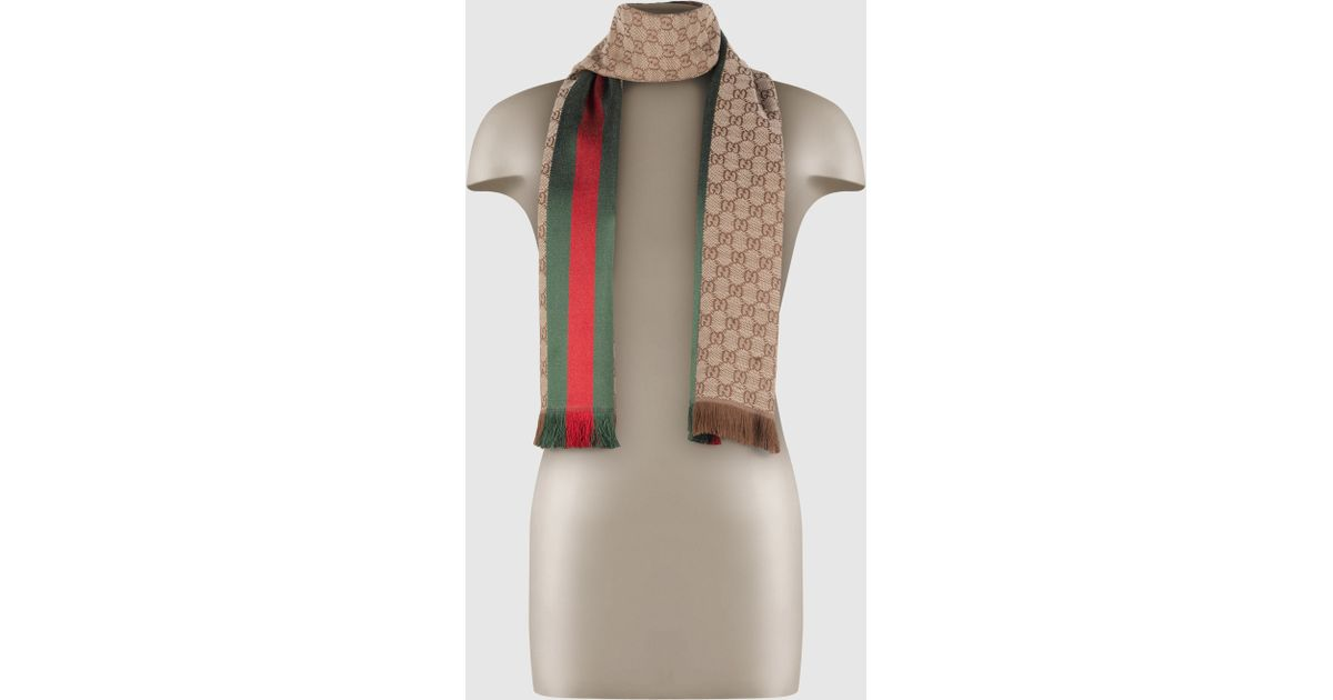 GG jacquard knit scarf with Web and fringe - Grey Gucci 2KlJhS