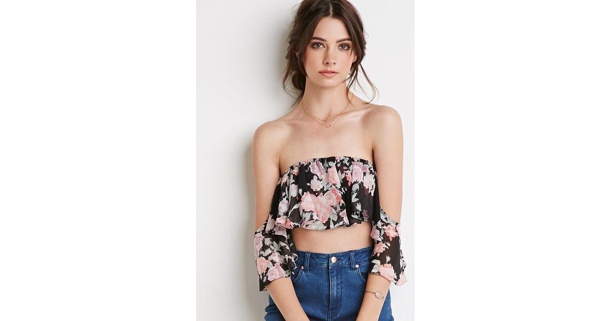 4b5a3726761036 Forever 21 Floral Off-the-shoulder Crop Top - Lyst
