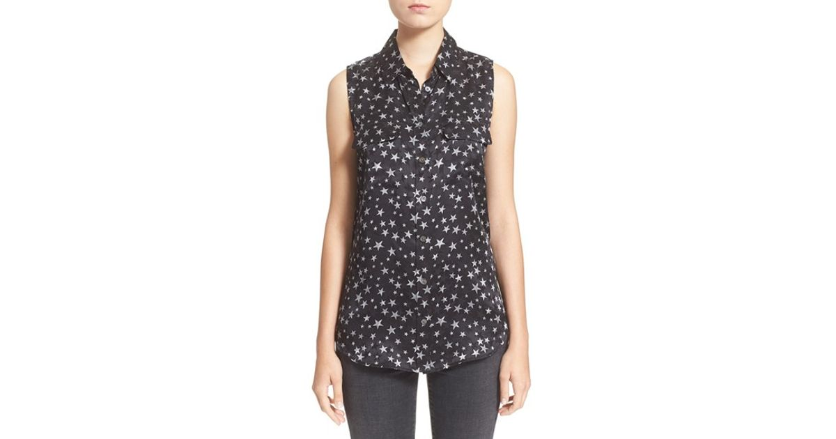 63bd590b369670 Lyst - Equipment  slim Signature  Sleeveless Star Print Silk Top in Black