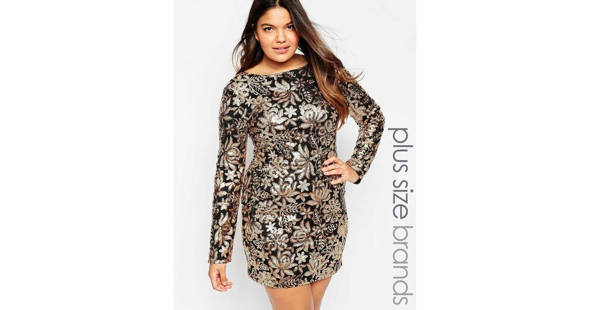Lyst Club L Plus Size Dress In Floral Sequins In Metallic