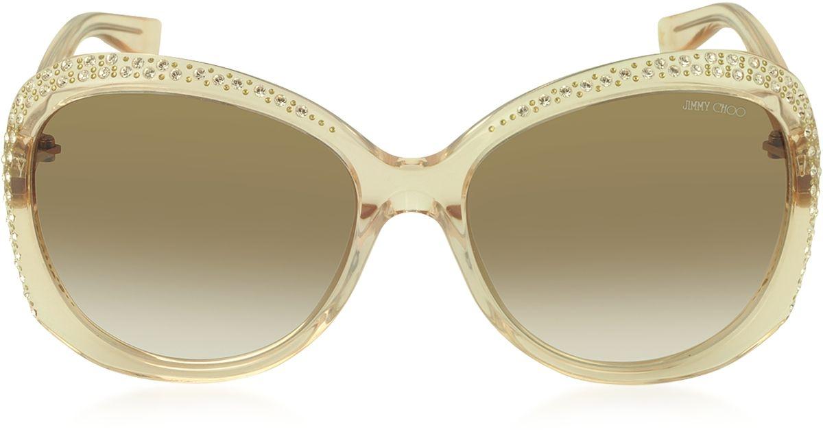 ea0b913de Jimmy Choo Lu/S Fhf42 Transparent Nude Crystal Women'S Sunglasses in  Natural - Lyst