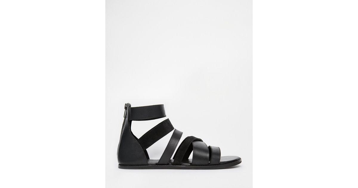 9c17f8a7702d Lyst - ASOS Gladiator Sandals In Black Leather in Black for Men
