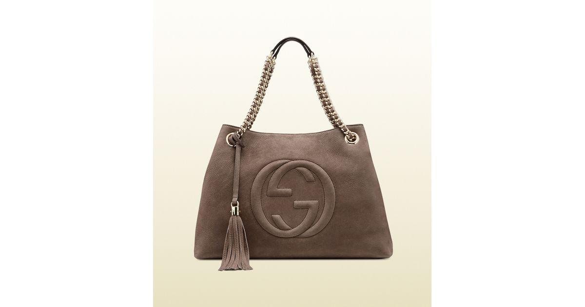 9f5bd822bfb7 Gucci Soho Nubuck Leather Shoulder Bag in Gray - Lyst