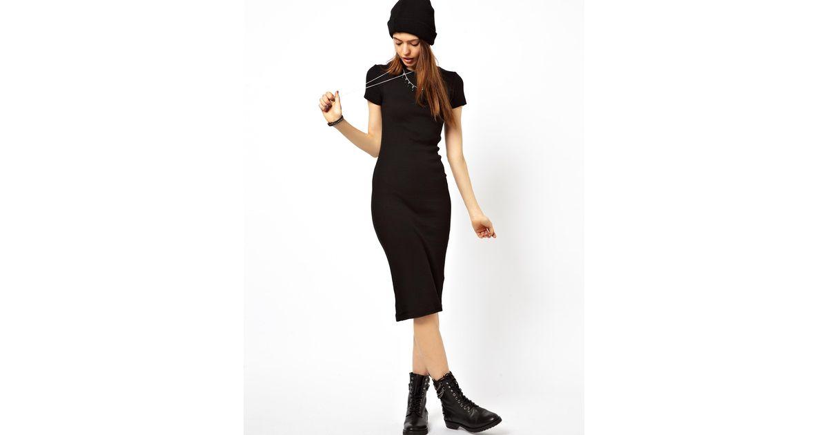 Lyst Asos Midi Bodycon Dress In Rib With Short Sleeves In Black